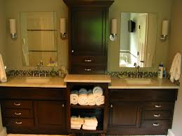 Dark Cabinet Bathroom Double Vanity With Linen Cabinet For Double Sink Vanity With Two