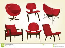red retro chairs. Vintage Red Chair Icons Retro Chairs