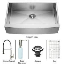 canada stainless steel all in one farmhouse kitchen sink and faucet set 36 inch vg15139
