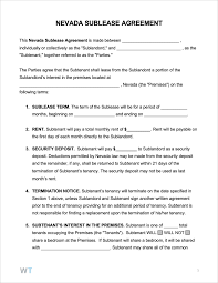 Sample Sublease Agreement Free Nevada Sublease Agreement Pdf Word Rtf