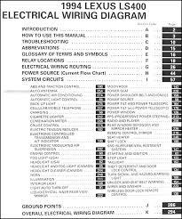 1994 lexus ls 400 wiring diagram manual original table of contents