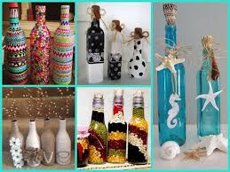 decoupage yarn bottle decorations diy craft ideas tutorial uradi