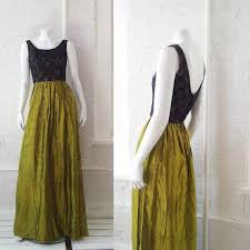 Navy Blue Lace Chartreuse Metallic Ball Gown 1960s Vintage Prom Dress Small Green Gold Iridescent Full Skirt Fitted Maxi Holiday Party Dress
