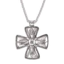silpada posh principles etched cross pendant in sterling silver
