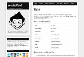 zeeBizzCard WordPress Theme