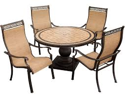 monaco monaco5pc 5 piece outdoor dining set 4 sling dining chair a 51 porcelain round dining table alumnicast frames center hole for umbrella