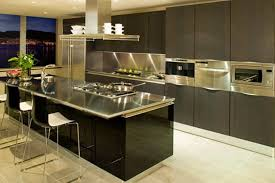 Contemporary Kitchen With Black Cabinets And Stainless Steel