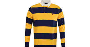 polo ralph lauren blue yellow stripe rugby polo shirt in metallic for men lyst