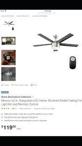 merwry ceiling fan home decorators collection in integrated led indoor brushed nickel ceiling fan with light