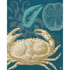 damask crab teal planked wood on damask wood wall art with creative gallery 11 in x 14 in damask crab teal planked wood