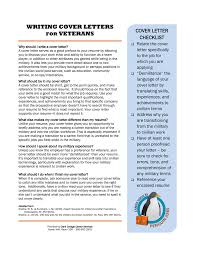 Military Cover Letter Writing Cover Letters Veterans Cover Letter Checklist