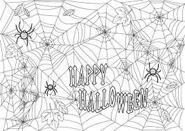 ハロウィン塗り絵蜘蛛の巣イラスト大人高齢者向け無料フリー