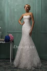Two Piece Strapless Lace Overlay Mermaid Wedding Gown With