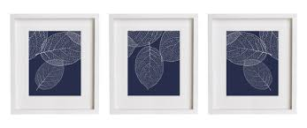 navy wall art west elm leaf print set of 3 botanical prints in blue decor 1 on blue and white wall art with blue coral wall art navy print white pertaining to idea 4