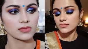 indian wedding guest makeup tutorial in hindi blue smokey eyes