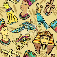 Fototapeta Starověký Egypt Bezešvé Vzorek Tetování Staré školy Pharaoh