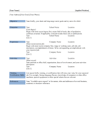 Basic Resume Template Word Sarahepps Com