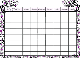 Chore Lists For Teens Picture Chore Chart Template