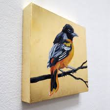 melissa huang baltimore oriole 2016 6 x6 each oil on