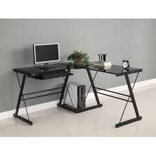stock photo walker edison soreno 3 piece corner desk black with black glass