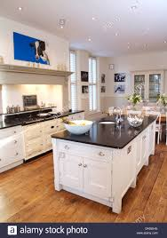 Country Kitchen Floors Island Unit In Modern White Country Kitchen With White Aga Oven