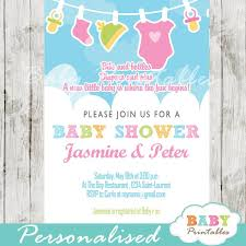 baby girl invite pink green baby girl clothes baby shower invitation d152