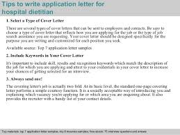 nutritionist cover letter hospital dietitian application letter