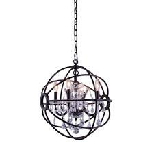 urban classic 4 light 17 polished nickel iron orb mini crystal black orb chandelier