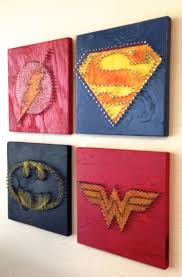 Justice League String Art - Wall Hangings (Set of Four). $100.00, via