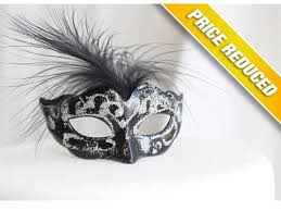 Miniature Masquerade Masks Decorations Miniature Mini Masquerade Masks Black Silver Cake Topper 21