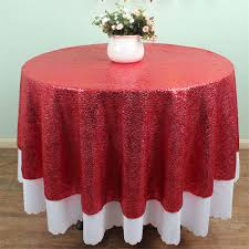diameter 50 inches round red sequin tablecloth whole