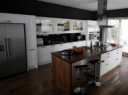 Cushion Flooring Kitchen Black Double Line Kitchen Cabinet Design Ideas With White Granite
