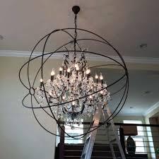 crystal black iron orb chandelier for elegant living room lighting decoration