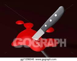 Kitchen knife on the floor covered in blood, above a small pool of blood, with a numbered yellow tag, at a crime scene. Stock Illustration Bloody Knife Clipart Drawing Gg71296046 Gograph