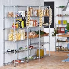 chrome wire shelving unit for kitchens 4 shelves 2 wine racks