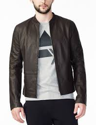 armani exchange clean front leather jacket leather for men a x