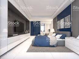 Luxus Schlafzimmer Mit Navy Farbe Ideen 3drendering Stockfoto Und