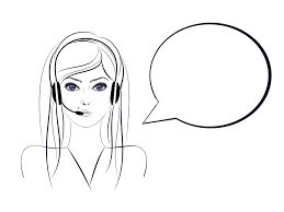 Simple Portrait Of A Call Center Girl Illustration In Line Art