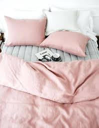 light pink bedding set washed rose pink colored premium linen soft twin queen size bedding set