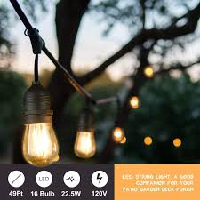 15 Count Led Commercial Style Globe Lights Mpow 49ft Led Outdoor String Lights Heavy Duty Waterproof Dimmable Led String Lights 15 Hanging Sockets 1 5w Edison Vintage Bulb Commercial Grade