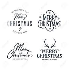 Lettering Templates Merry Christmas And Happy New Year Typography Set Holiday Related