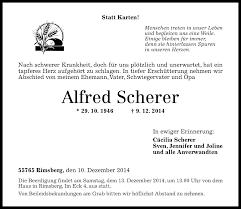 Traueranzeigen von Alfred Scherer | rz-trauer.de
