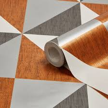 Colours Mosaic Copper, Navy & Pewter Geometric Metallic