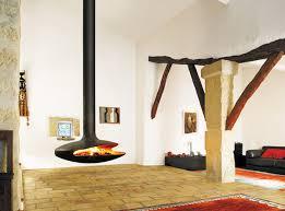gyrofocus ceiling hung wood fireplace