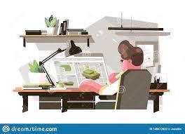 Designer Draftsman Designer Creating New Draft Stock Vector Illustration Of