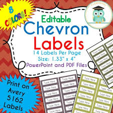 Avery 5162 Labels Chevron Labels Editable Classroom Notebook Folder Name Tags Fall