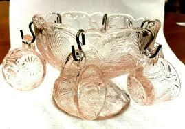 details about vtg depression glass pink miniature punch bowl set w 6 cups cambridge