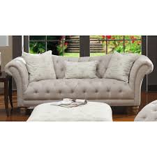 beige tufted sofa. Fine Beige Hutton OffWhite LinenLook Button Tufted Sofa With Beige D
