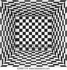 黒いそして白い チェス盤 壁 部屋 背景 クリップアート切り張りイラスト絵画集