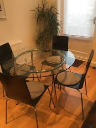 ikea round glass dining table with 4 chairs